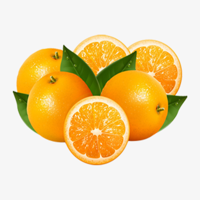 Oranges clipart. A pile of cut