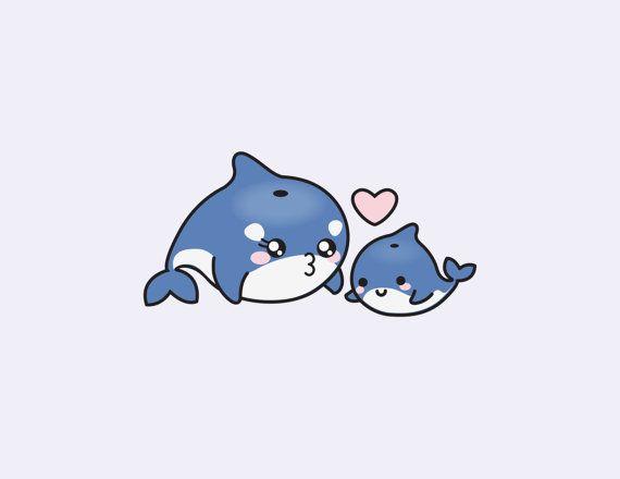 Orca clipart kawaii. Premium vector orcas cute