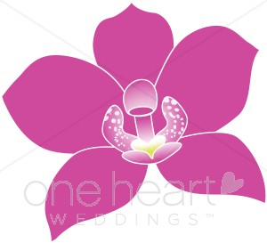 Tropical wedding . Orchid clipart fuschia