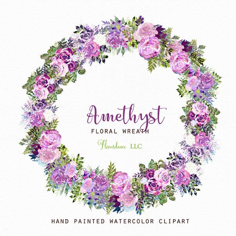 Orchid clipart lavender. Amethyst purple watercolor wreath