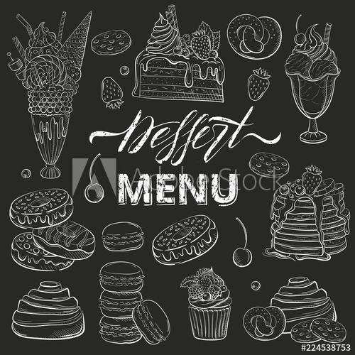 Sweet beautiful desserts set. Oreo clipart sketch