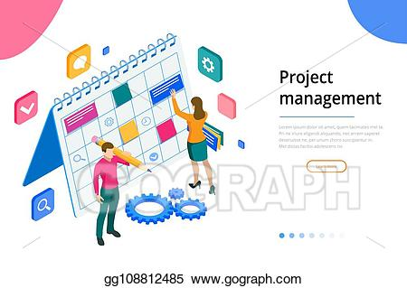 Vector stock isometric project. Planner clipart planning team