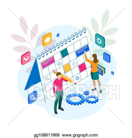 Vector stock isometric project. Schedule clipart organization