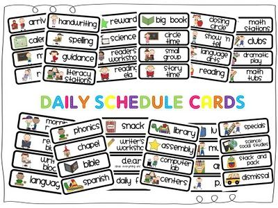 Schedule cards free printables. Organized clipart daily agenda