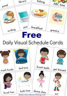 Extra visual schedule cards. Organized clipart daily plan