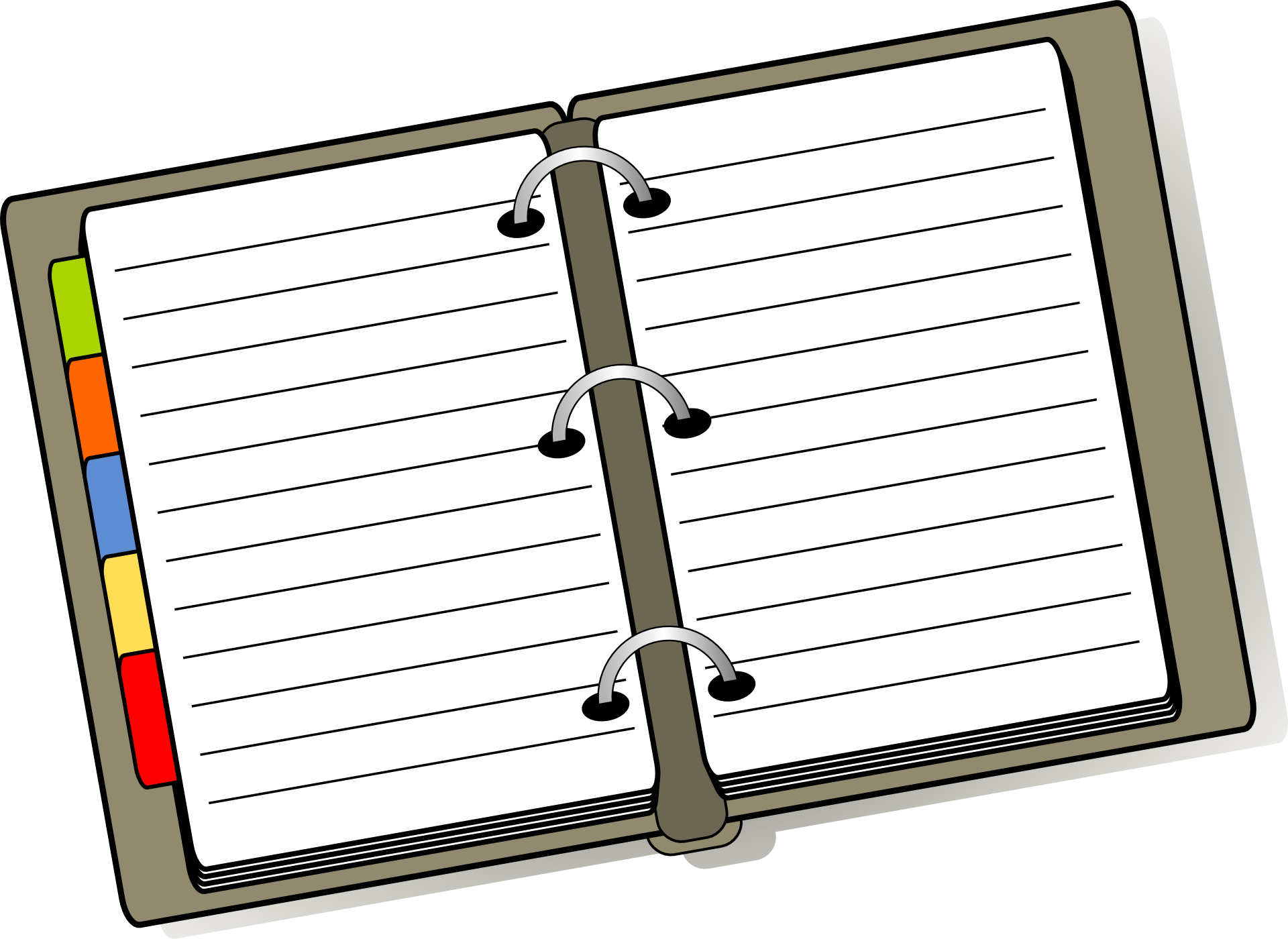 Notebook st edwards . Organized clipart daily planner