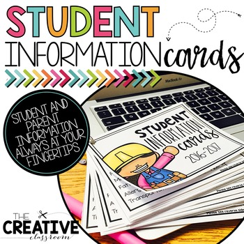 Student information cards . Organized clipart parent info