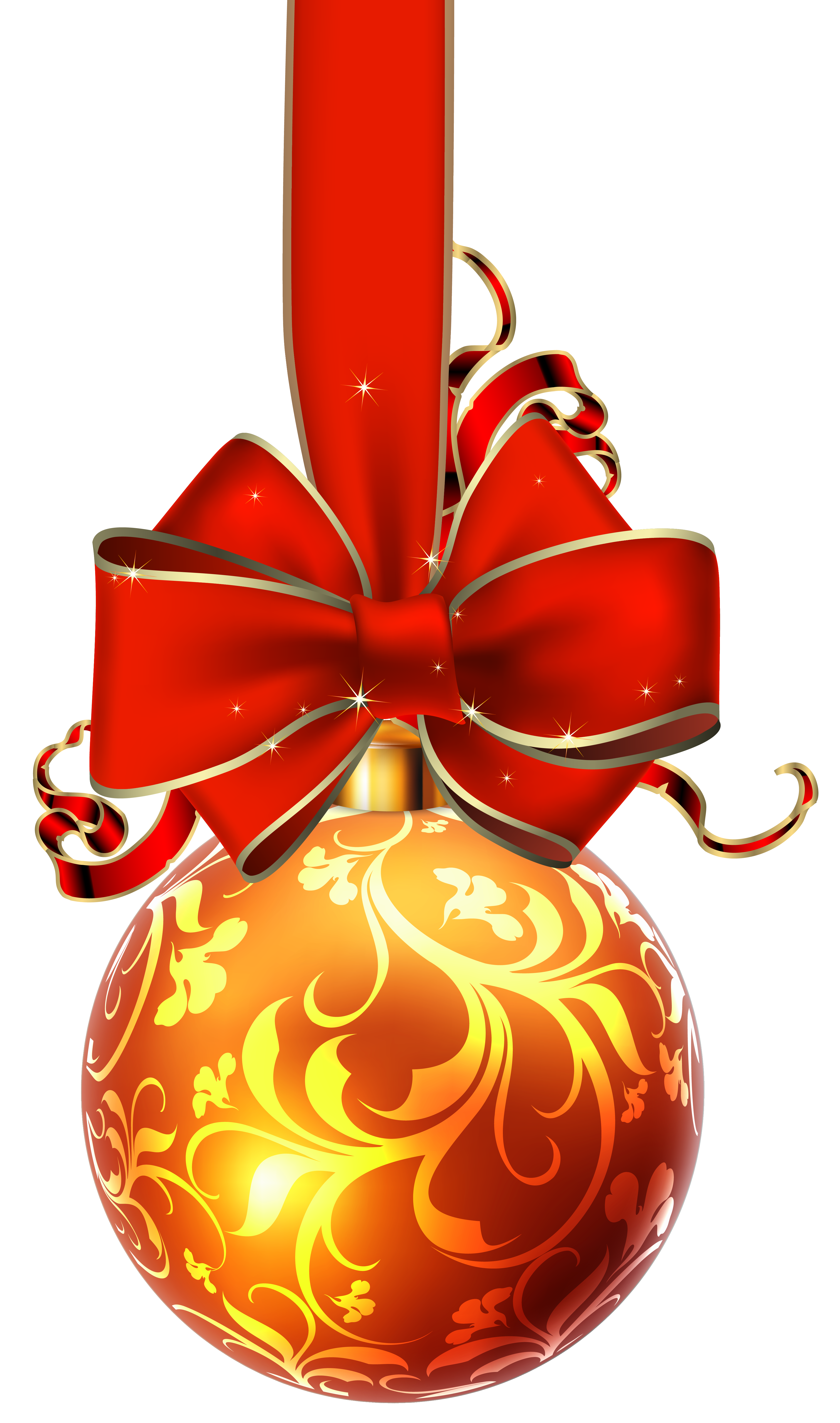 Christmas ball with red. Ornaments clipart bow clipart