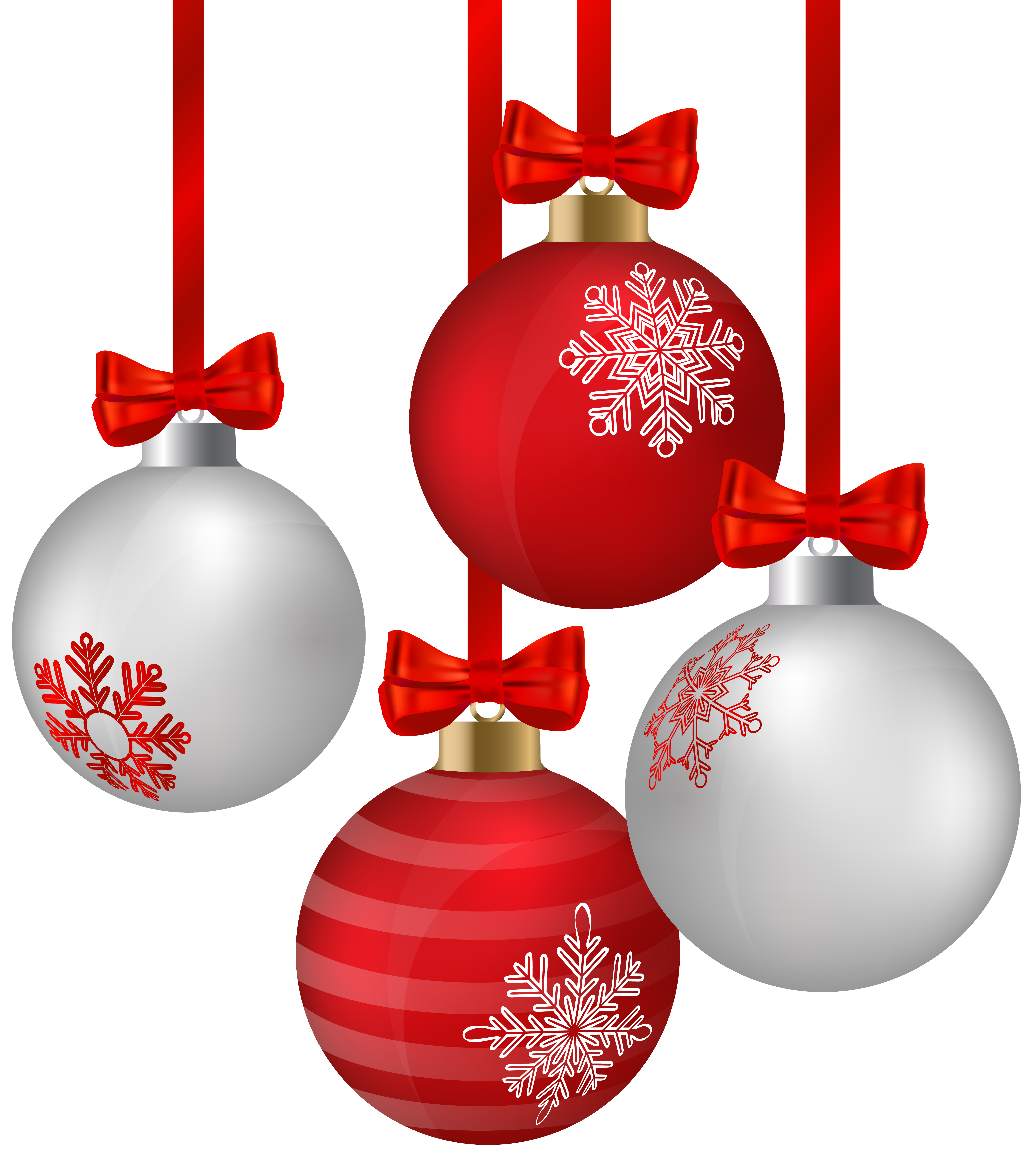White and red hanging. Ornaments clipart