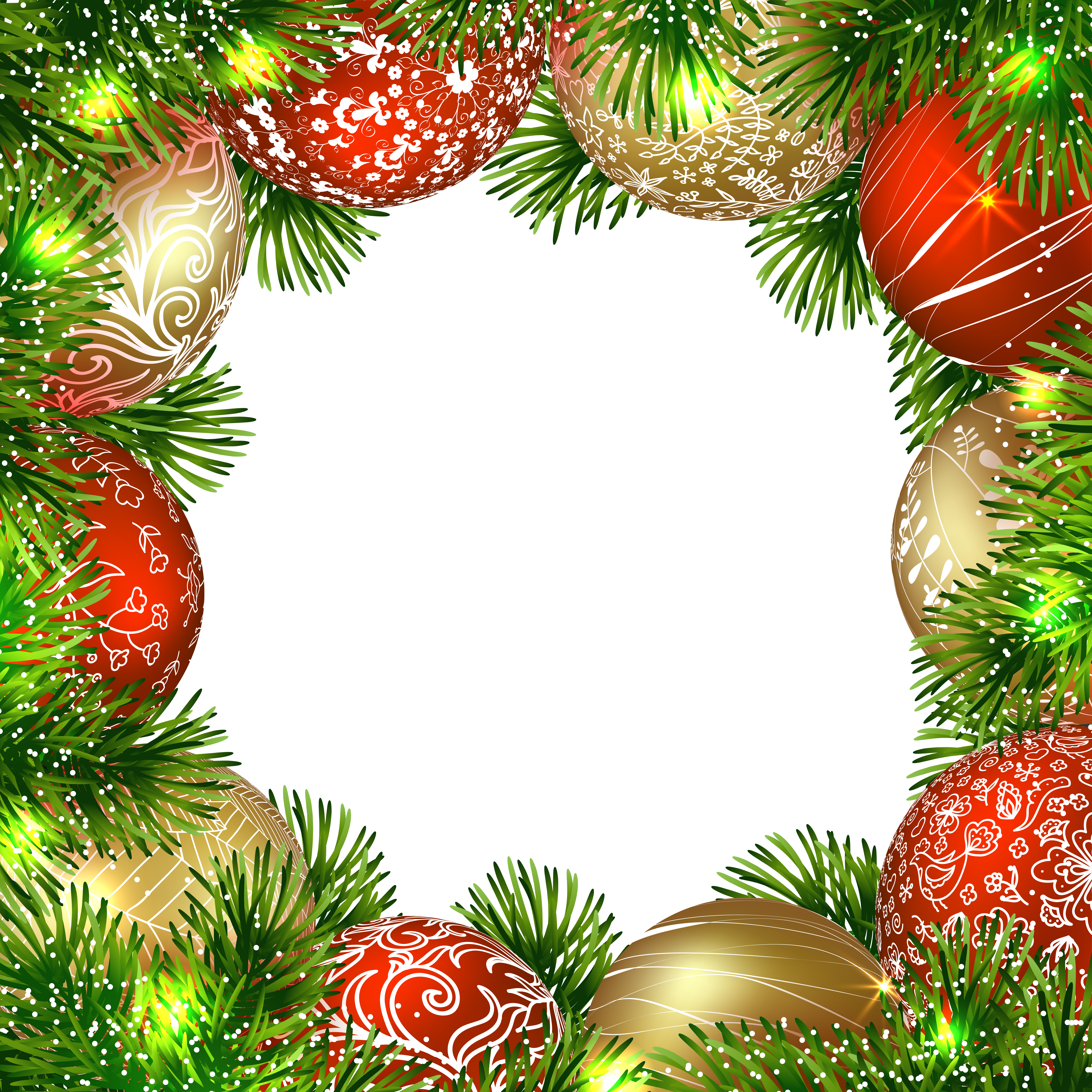 Christmas ornament border png. Transparent frame with ornaments