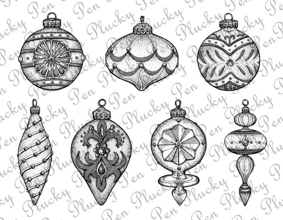Ornaments clipart line drawing. Fancy christmas clip art