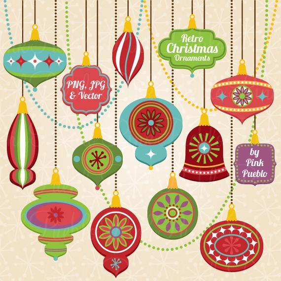 Christmas ornament clip art. Ornaments clipart retro