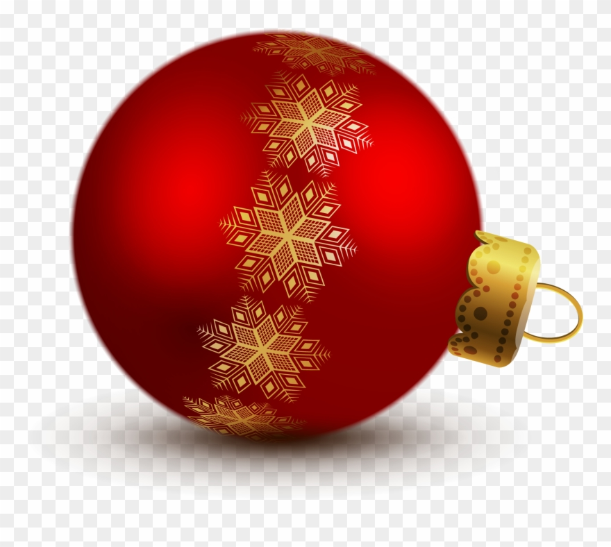 Transparent red christmas ball. Ornaments clipart sphere