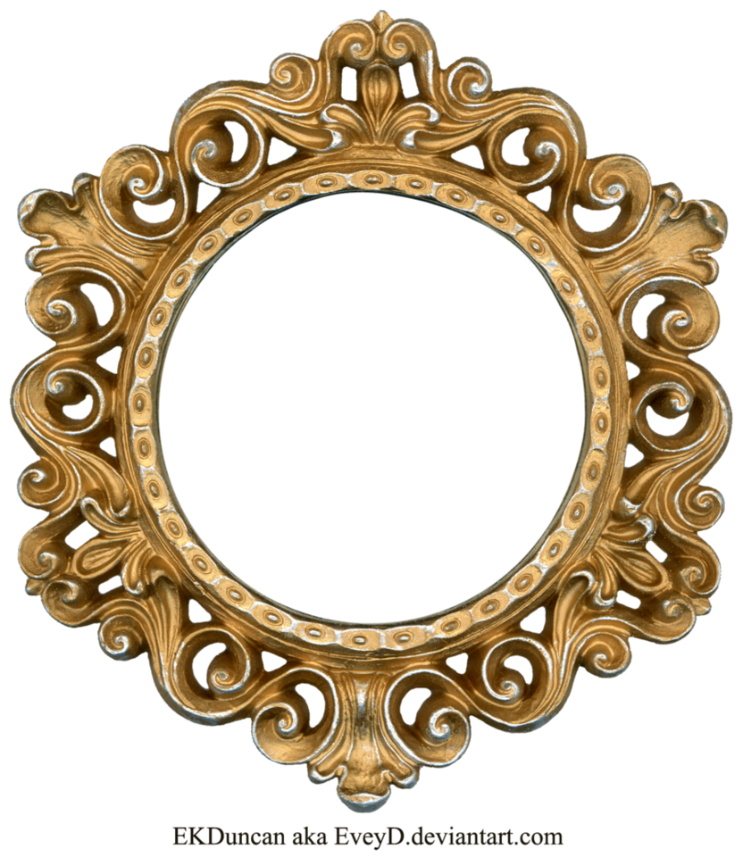Ornate frame png. Gold and silver round