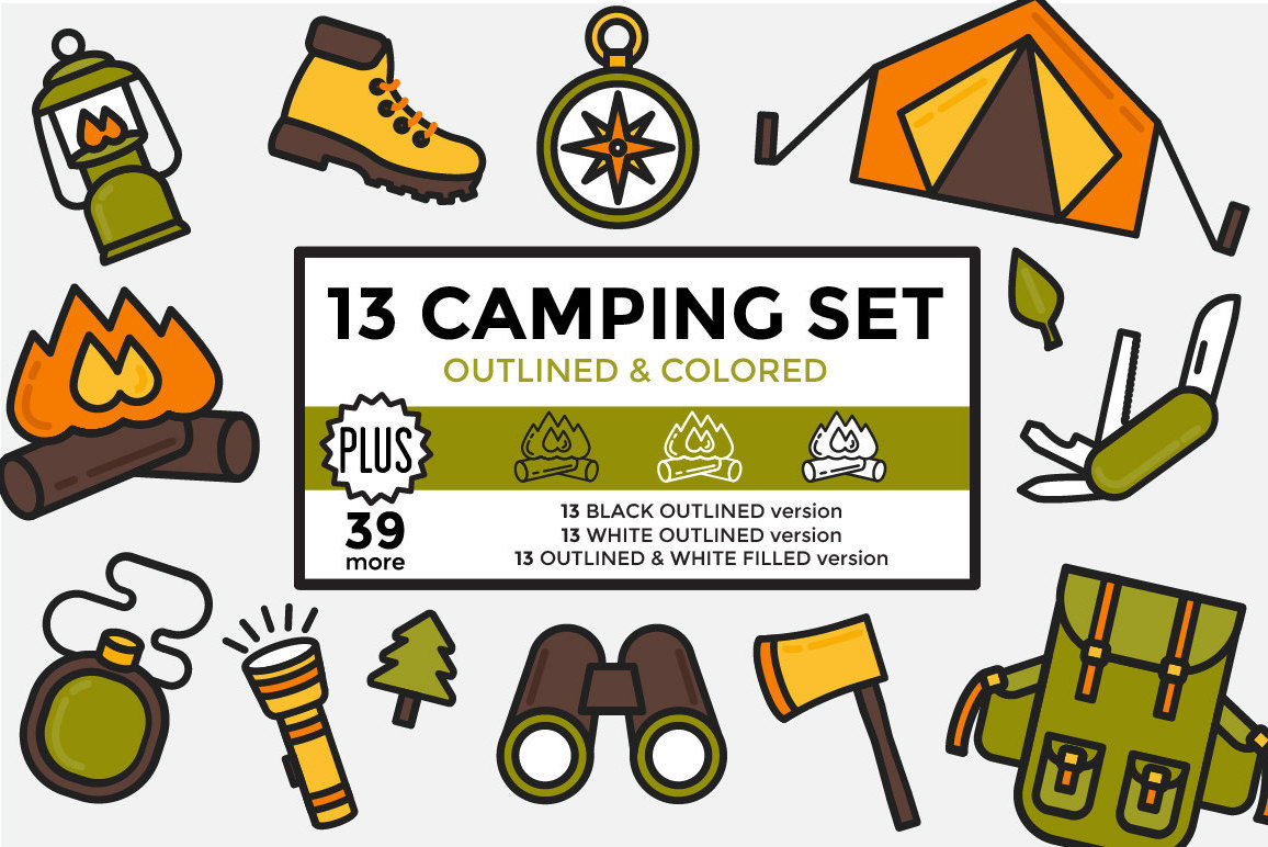 Outdoors clipart. Camping hiking elements