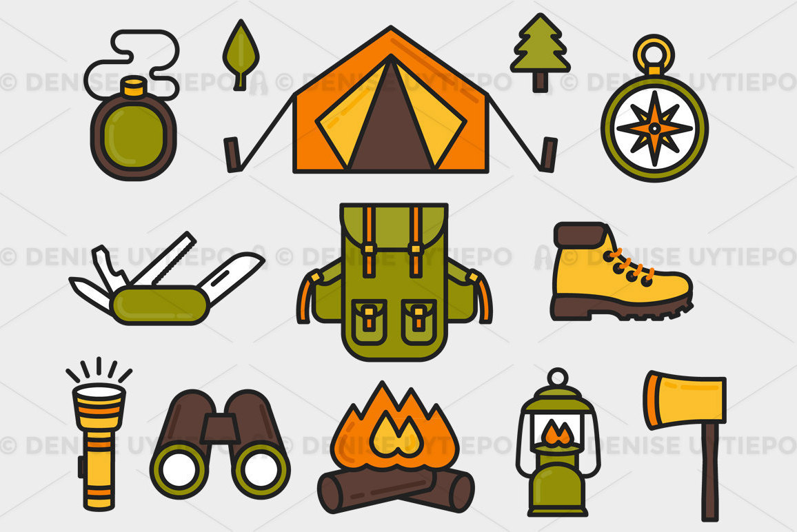 Outdoors clipart. Camping hiking elements set