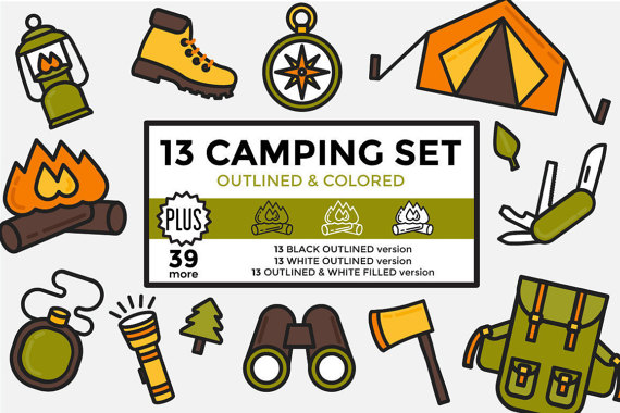 Camping hiking elements set. Outdoors clipart