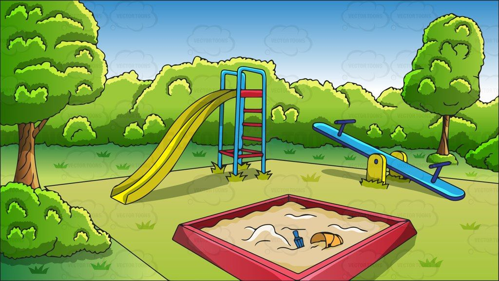 Playground clipart cartoon. An outdoor background vector