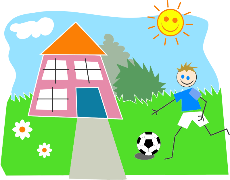 Boy playing soccer medium. Outside clipart girl house