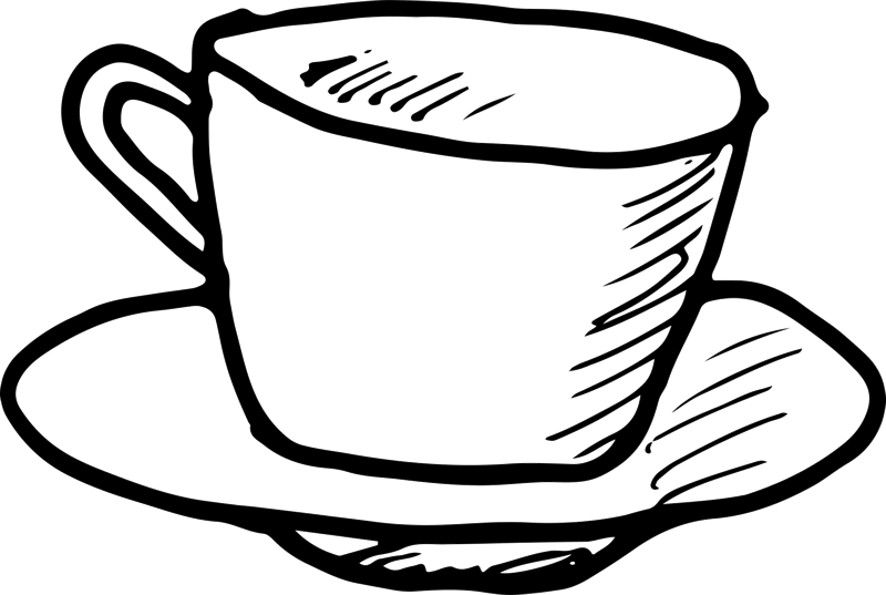 Stamp clipart coffee. Cup and saucer outline