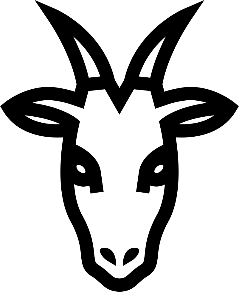 Outline clipart goat. Head frontal svg png