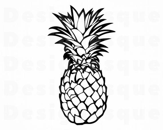 Pineapple clipart outline. Svg files for cricut