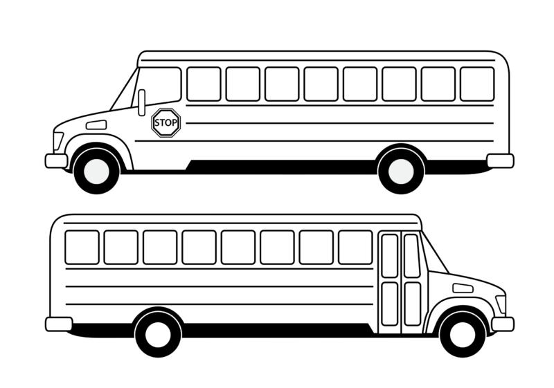 Free bus black and. Outline clipart school