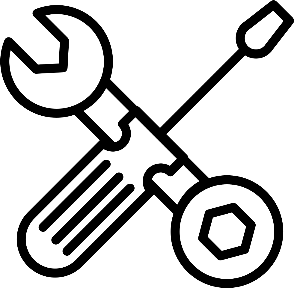 Screwdriver clipart hand tool. Wrench and bolt outline