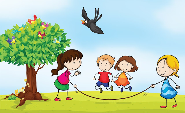 Outside clipart. Children playing kid clipartix