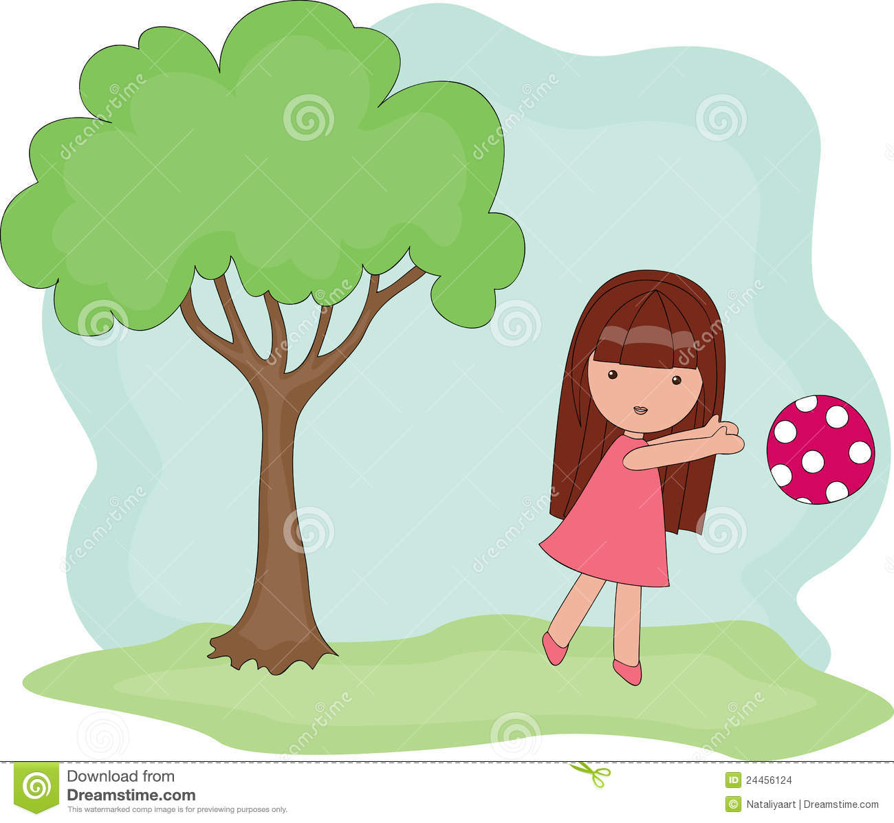 Girl playing . Outside clipart