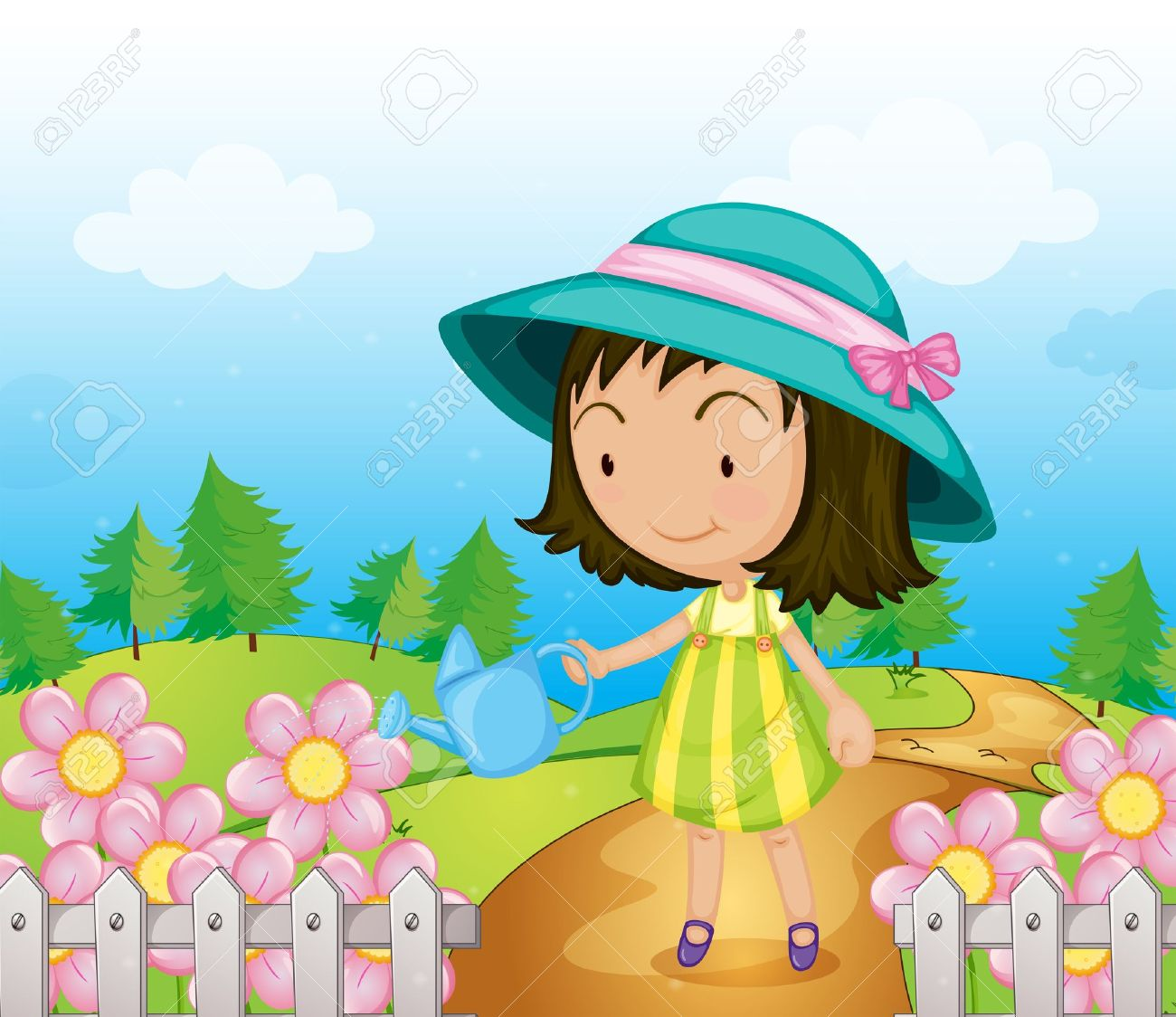 Outside clipart animated nature. Girl playing clip art