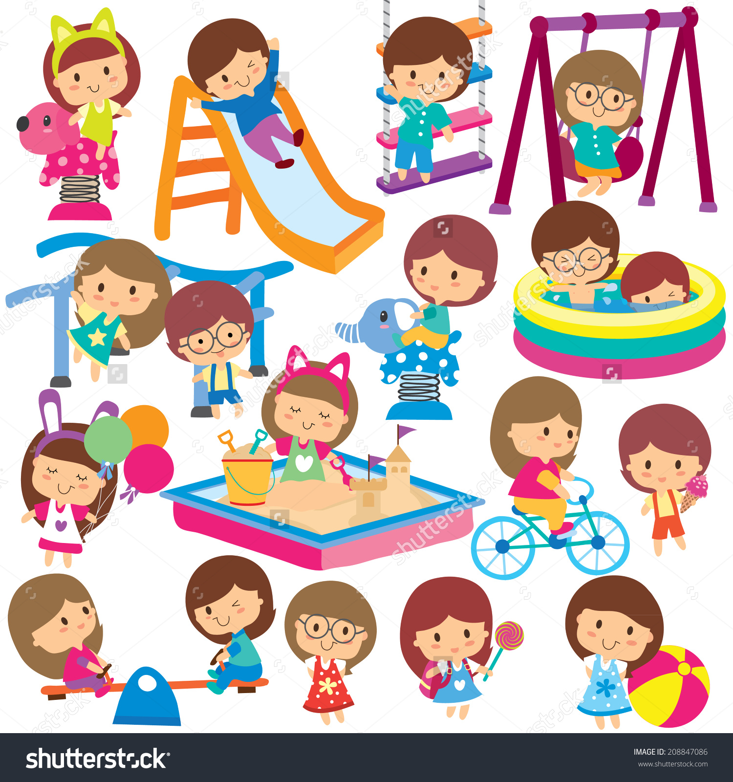 Free outdoor play cliparts. Outside clipart childrens park