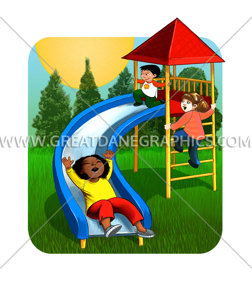 Outside clipart playground. Children slide production ready