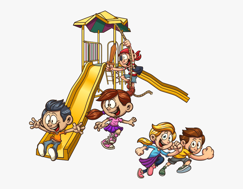 Kids playing on slide. Outside clipart toddler playground