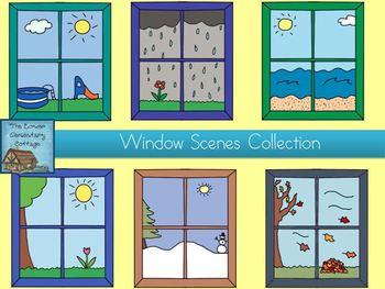 Window scene clip art. Outside clipart windo