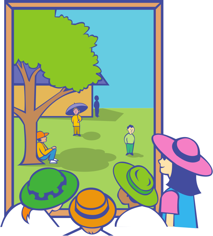 Kids looking out window. Outside clipart windo