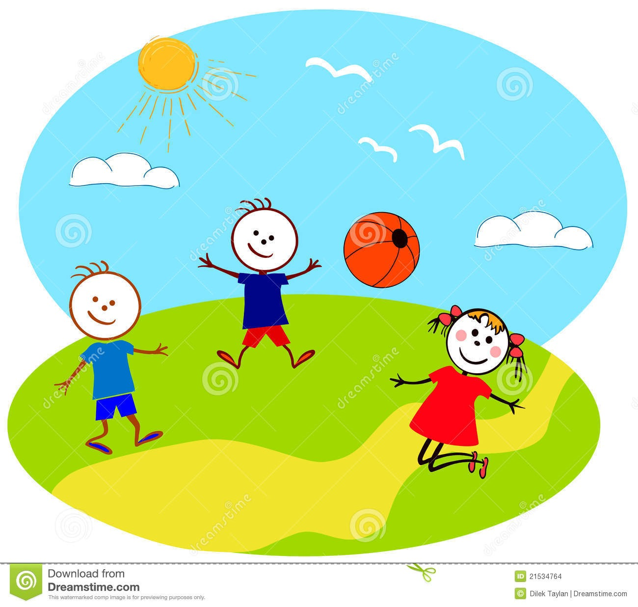 Group luxury of kids. Outside clipart