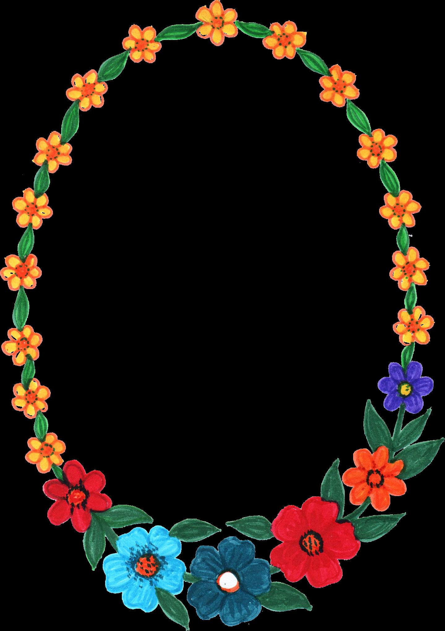 flower frame transparent. Oval border png