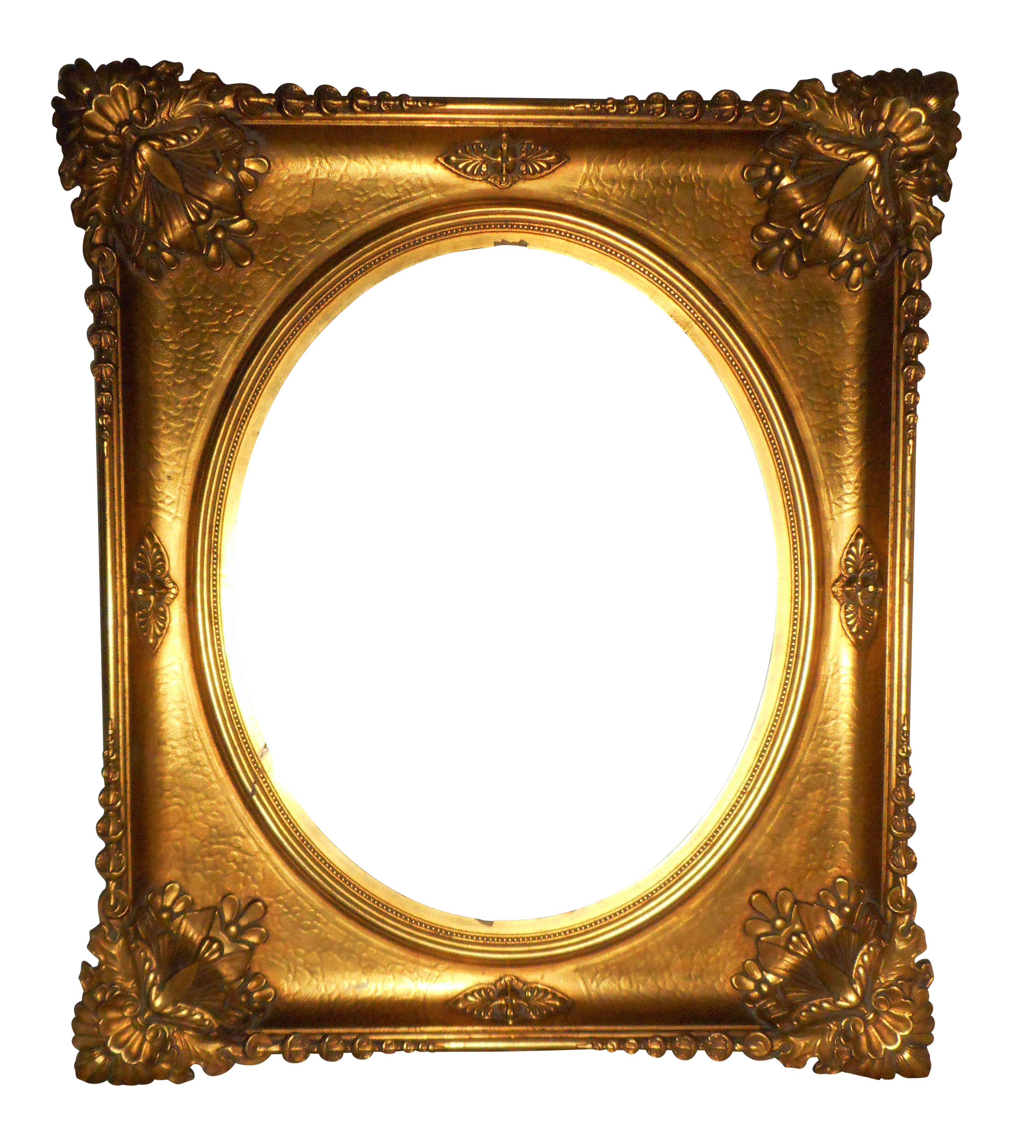 Vintage used picture frames. Oval gold frame png