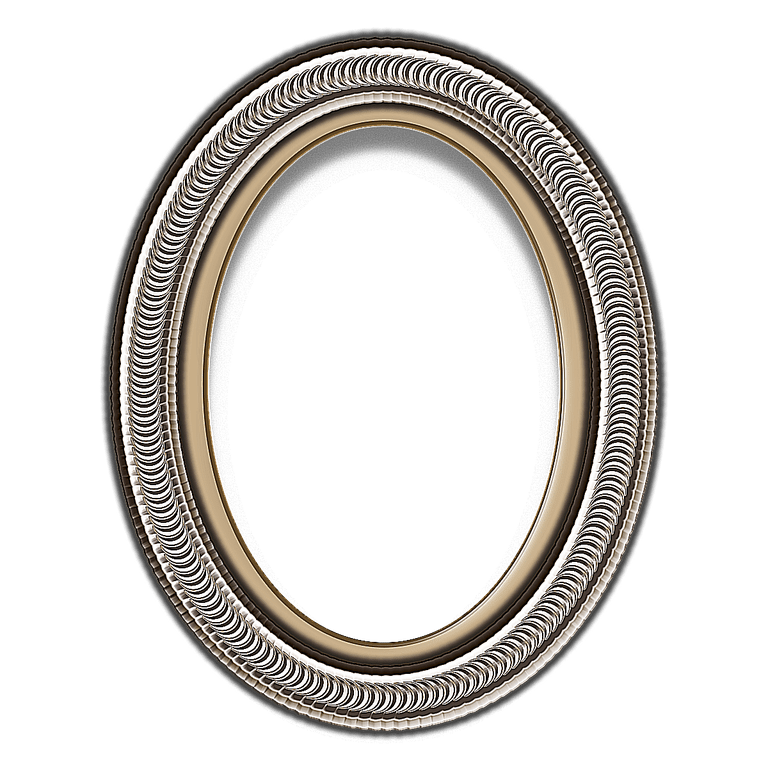 Oval gold frame png. Red curlicue layered psd