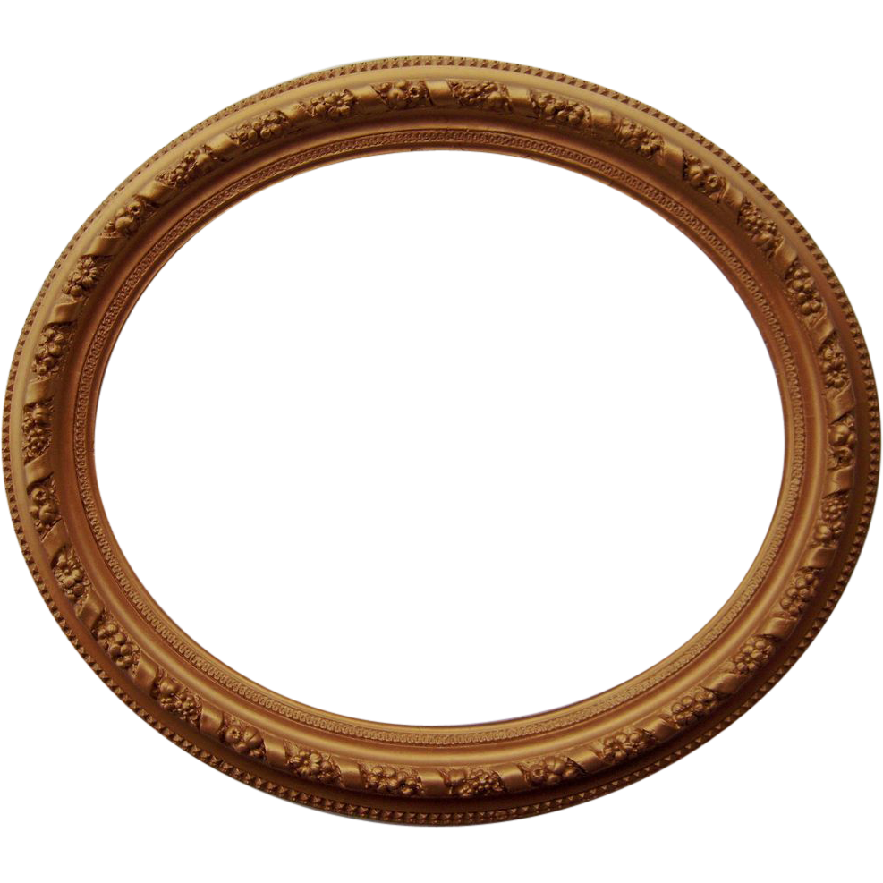 Large ornate antique gold. Oval picture frame png