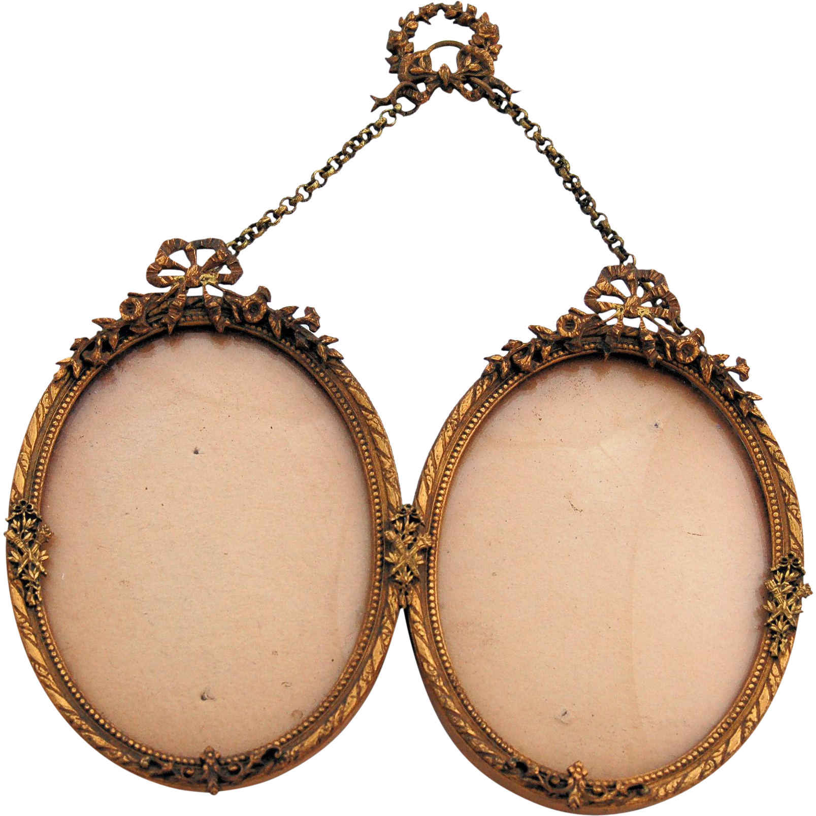 Oval picture frame png. Antique french bows and