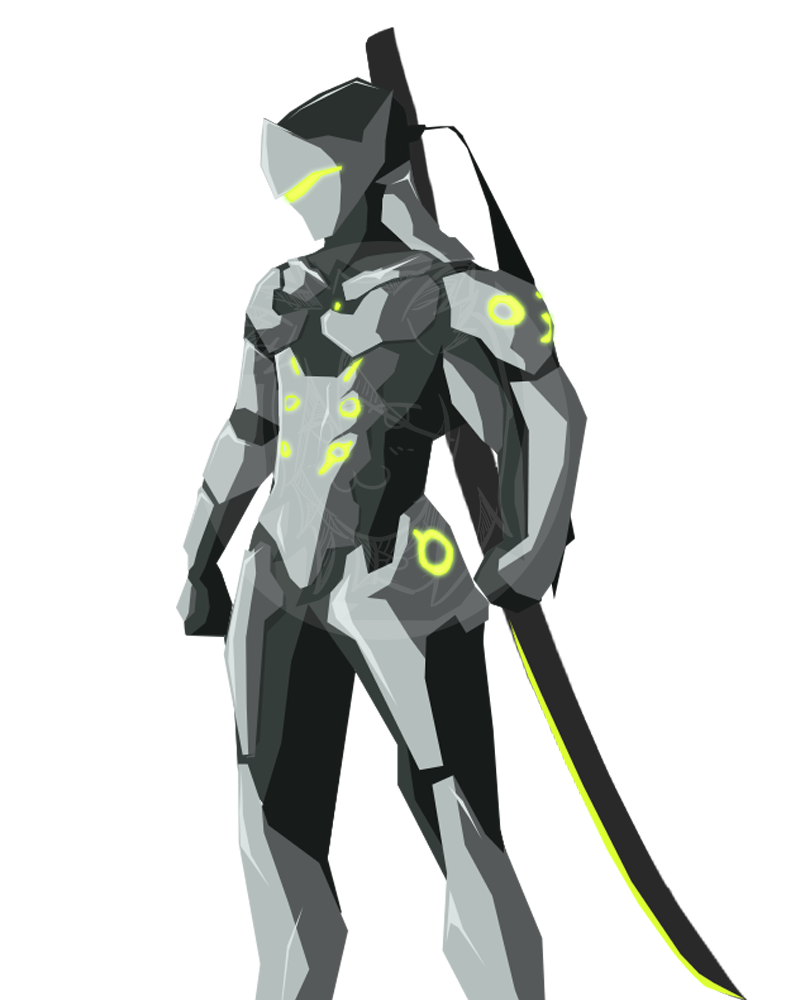 Cel shade by skyhd. Overwatch genji png