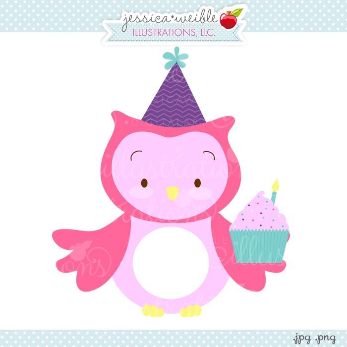 Owl clipart cupcake. Birthday jw illustrations clip