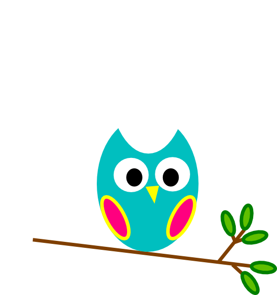 Teal and pink clip. Owl clipart mail