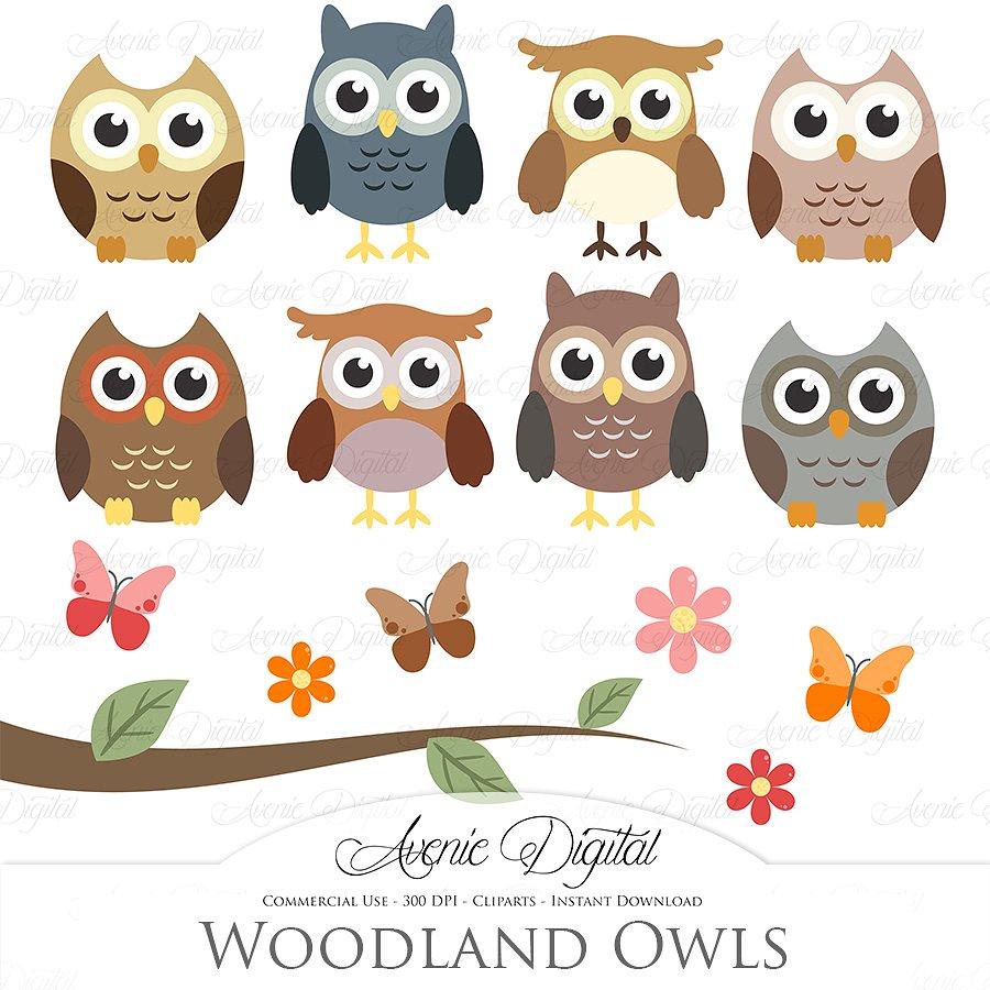 Owls clipart. Woodland and vectors illustrations