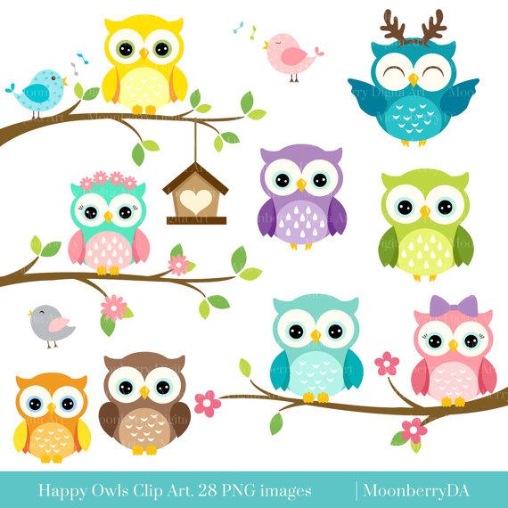 Owls clipart. Happy clip art digital