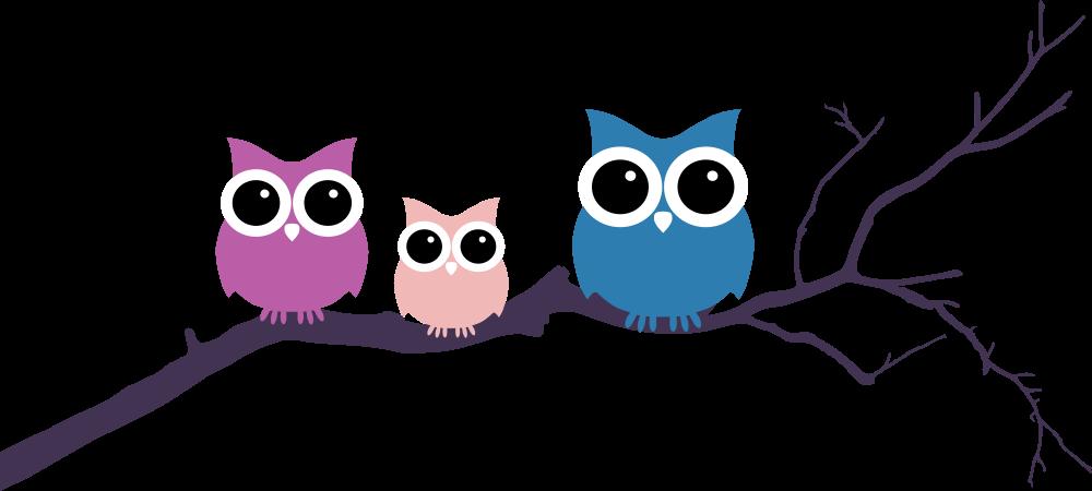 Owl on tree three. Owls clipart branch clip art