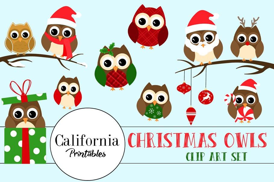 Owls clipart christmas. Owl