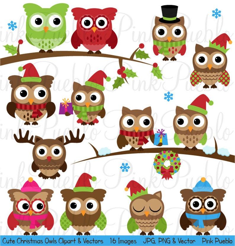 Cute owl clip art. Owls clipart christmas